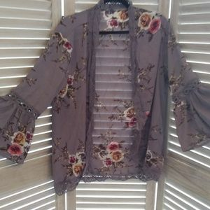 Grey with roses shrug cover up sz XL boho look